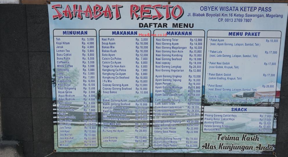 Harga Makanan di resto Ketep Pass Magelang