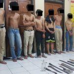 Para pelaku terduga klitih diamankan di Polresta Yogyakarta, Minggu (12/1/2020) dini hari.
