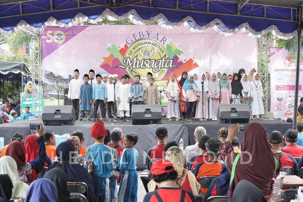 Penampilan siswa siswi SD Muhammadiyah Sagan Yogyakarta melantunkan Kalam Illahi