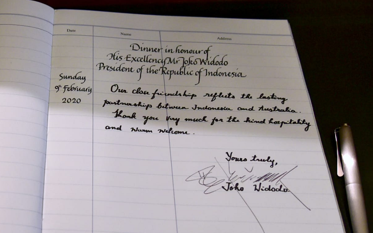 Isi Buku Tamu Joko Wi Saat di undang Perdana Menteri Australia
