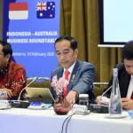 Presiden Joko Widodo menghadiri Indonesia-Australia Business Roundtable di Canberra Room, Hotel Hyatt, Canberra, Australia