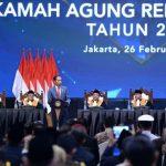 Presiden Jokowi memberikan sambutan dalam acara Laporan Tahunan Mahkamah Agung RI di JCC. (Foto: Setneg)