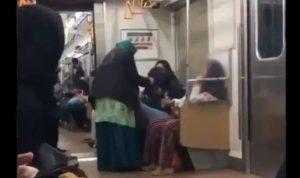 Viral Video Ibu Ibu paruh baya menjambak seorang penumpang wanita lain yang sedang duduk didepannya.