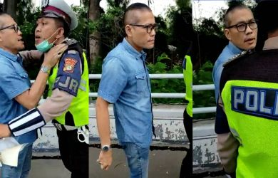 Pemobil tidak mau ditilang kemudian mendorong dan mencekik polisi yang menilangnya di Tol Angke, Jakarta.