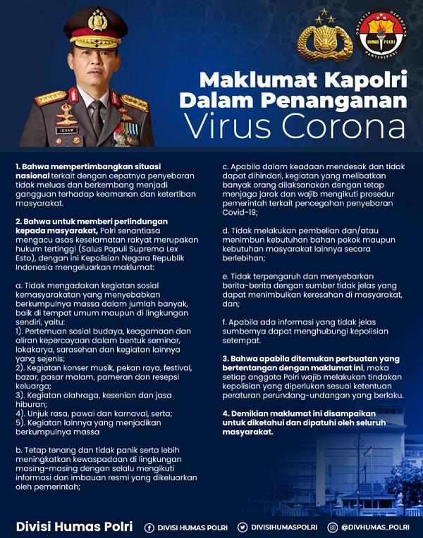 Isi Pesan Maklumat Kapolri Dalam Penanganan Virus Corona