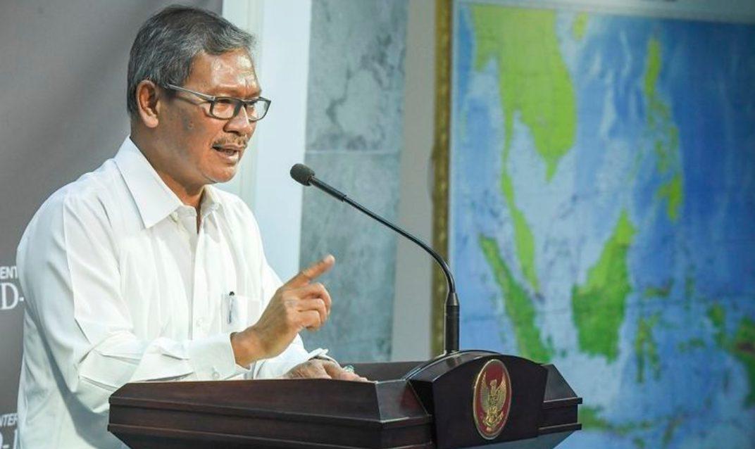 Jubir Pemerintah untuk virus Corona Achmad Yurianto memberikan keterangan pers di Kantor Presiden, Jakarta.