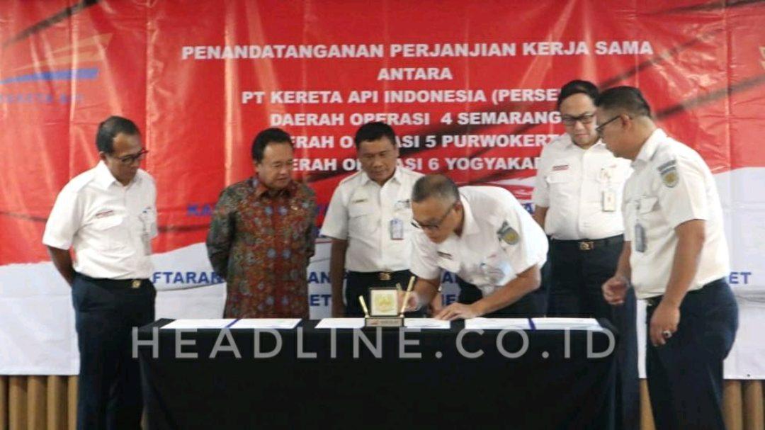 PT KAI melaksanakan perjanjian kerjasama dengan Kanwil BPN Provinsi Jawa Tengah di Hotel Grand Mercure Yogyakarta.