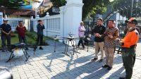 Pemda DIY gandeng Komunitas Drone untuk semprot Disinfektan di Jalan Malioboro, Yogyakarta. (Foto: Humas DIY)
