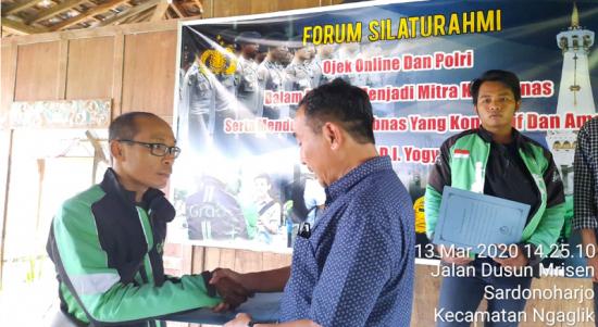 Polda DIY gelar Forum Silaturahmi dengan Ojek Online di Nganglik Sleman Yogyakarta