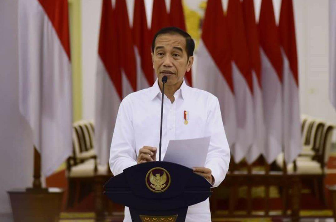 Presiden Jokowi saat memberikan konfrensi pers di Istana Negara.