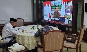 KH Maruf Amin dalam Rapat Terbatas melalui telekonferensi bersama Presiden Jokowi untuk menekankan bahwa mobilitas orang dengan jumlah yang besar ketika mudik akan beresiko terhadap penyebaran virus Covid-19