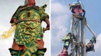 Patung Panglima di Kelenteng Tuban rontok sisakan rangka. (Ilustrasi: Halopantura)