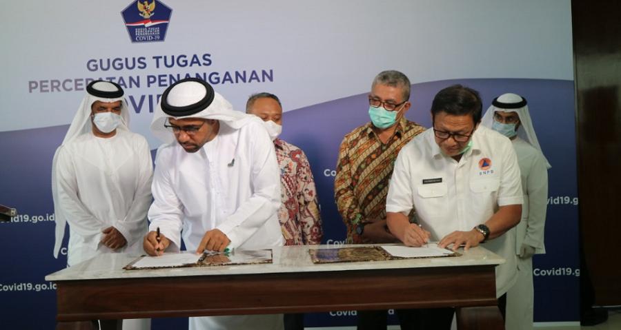 Penandatanganan Berita Acara Serah Terima Pemberian Bantuan oleh Duta Besar Pemerintah Uni Emirat Arab untuk Indonesia