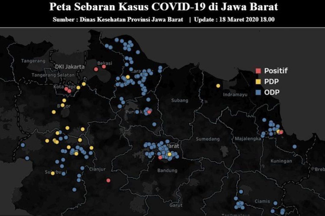 Peta penyebaran kasus Covid-19 di Jawa Barat.