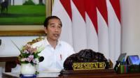 Presiden Joko Widodo memimpin rapat terbatas yang terkait tindak lanjut antisipasi kebutuhan bahan pokok secara telekonferensi dari Istana Kepresidenan Bogor