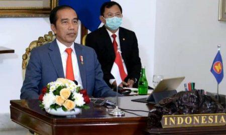 Presiden Jokowi menghadiri KTT ASEAN Khusus secara virtual. (Foto: Setpres)