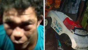 Pemulung yang diduga pencuri sebuah mobil mainan di Sardonoharjo, Sleman. (Foto: Istimewa)