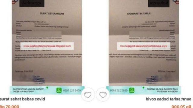 Polisi selidiki Surat Bebas Kesehatan yang dijual online seharga Rp 70.000. (Ilustrasi: Bisnis24)