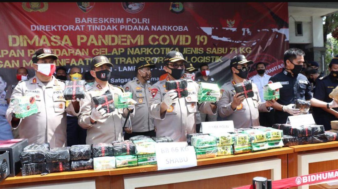 Polri ungkap penyelundupan Sabu dari Sumatera ke Jawa. (Foto: Humas Polri)