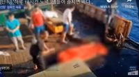 Rekaman video saat jenajah ABK dilarung ke laut. (Rekaman: MBC)