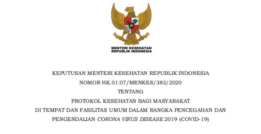 Keputusan Menteri Kesehatan RI tentang Protokol Kesehatan untuk Tempat Umum
