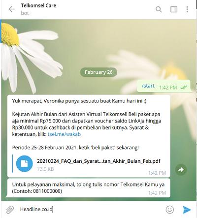 Cara Tanya Veronika Asisten Virtual Telkomsel Via Telegram