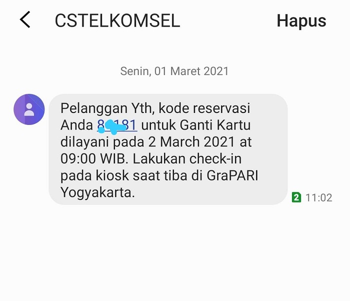 Kode Reservasi Grapari Telkomsel yang dikirim veronika untuk kita