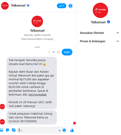 Tanya Veronika Asisten Virtual Telkomsel Via FB Massenger
