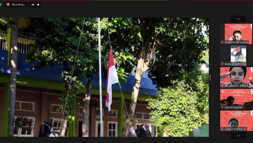 Prosesi Upacara Bendera secara Virtual di SD Budi Mulia Dua Pandeansari