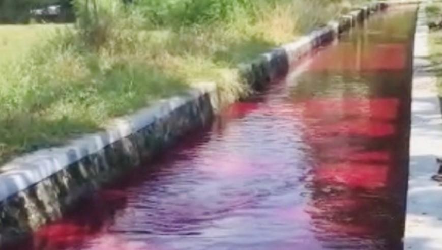 Lokasi saluran air yang berubah merah di Desa Bulan-Ngreden, Kecamatan Wonosari, Klaten